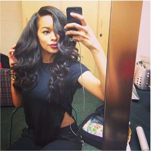 Siyah Kadınlar için tam Dantel İnsan Saç Peruk Tam Başkanı Tam Dantel Peruk İnsan Saç Doğal Renk Dalgalı Bellahair