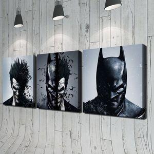 Batman ve Joker 3 adet Modern Moive Portre HD Yağlıboya Tuval Ev Duvar Dekorasyonu Baskı Yok Çerçeveli Ev dekor
