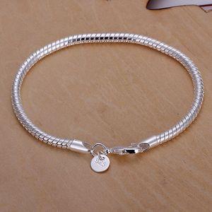Новый посеребренные ювелирные изделия посеребренные манжеты цепи Шарм 3 мм змея цепи браслет Браслет ювелирных изделий