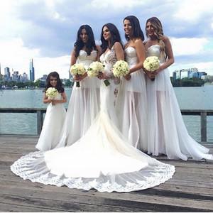 Vestidos formales blancos sin tirantes de novia de playa Vestido de dama de honor 2016 Vestido maxi de primavera Vestidos largos de gasa con tirantes sin mangas