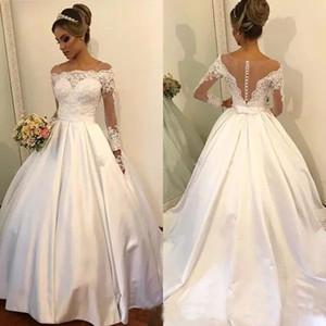 Vintage Lace A Line Свадебные платья 2018 года с длинными рукавами Лук суд поезд аппликациями Свадебные Платья