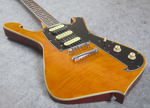 Benutzerdefinierte hochwertige E-Gitarre, beste Gitarre, Tiger geflammt Mahongay Körper 3 Stück Hals, Zabra Pickups, auf Lager, versendet schnell