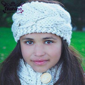 Nishine Nouveau mode Noeud Bandeau Bebe Fille d'hiver Crochet tête wrap chaud Tricoté Hairband Band cheveux Enfants Accessoires cheveux