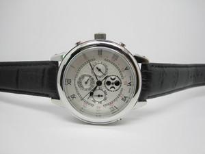 أعلى بيع الساعات غير القابل للصدأ رجل حزام ساعة جلد ضعف الجانب الميكانيكية المعصم التلقائي الساعات 0018
