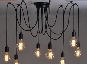 Ücretsiz kargo 6/8/10/12/14 kafaları amercian vintage kolye ışık asılı lamba siyah bağbozumu e27 40 w retro kolye ışıkları