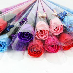 Sıcak Satış Kırmızı Fushia Mavi Renk Gül Çiçek Sabun anneler Günü Hediyeleri 30 adet / grup Düğün Hediyesi Arkadaşlar Tatil Malzemel ...
