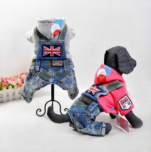 Free shipping new style pet dog puppy warm autumn winter jumpsuits rompers England style jean fleece inside