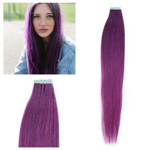 """Großverkauf - 5A 16 """"- 24"""" 100% Menschenhaar PU EMY Band-Haut-Haar-Erweiterungen 2.5g / pcs 40pcs100g / set #purple Haar DHL geben frei"""