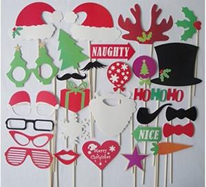 Weihnachten Und Halloween 28 teile / los DIY Photo Booth Requisiten Schnurrbart Lippenhut Geweih Geschenk Stick Weihnachtsfeier