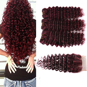버건디 버진 브라질 인간의 머리카락 짜기 3PCS 꽉 깊은 곱슬 와인 빨간 머리 직조 99J 킨키 컬 머리카락 묶어 딥 웨이브 클로저와 함께