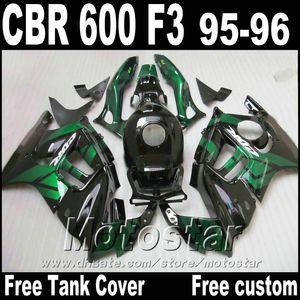 7Gifts+Free Tank for HONDA CBR600 F3 95 96 black green fairing kit CBR 600 1995 1996 body fairings parts ZB28