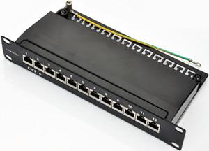 """SOHO 10 """"Cat.6 12port patch panel tam kablo yönetimi destek çubuğu rackmount ile korumalı"""