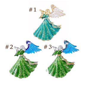 Venta al por mayor Tanzanite Crystal Rhinestone Enameling Angels Broches Fashion Costume Pin Brooch Jewelry 3 colores para las opciones