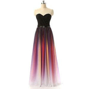 High Quality Sheath Sweetheart Sleeveless Chiffon Gradient Evening Gown Prom Dresses