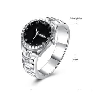 ¡Alta calidad! plateado plata Promise Ring Fashion Watch forma Zircon anillos plateados plata para hombre tamaño de las mujeres US6-11