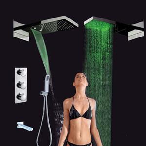 도매 및 소매 승진 LED가 럭셔리 폭포 비 샤워 헤드 샤워 꼭지 온도 조절기 4 가지 방법 믹서