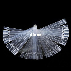 50 PCS False Nail Art Board Tip Stick Sticker Polish Pantalla plegable Beauty Practice Fan Clear White