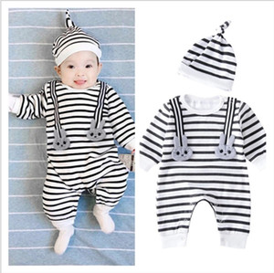 2018 New Baby Rompers Spring Autumn Infant Boys Girls Striped Jumpsuits Toddler Long Sleeve Romper Onesies With Hats 70-100cm 8sets lot