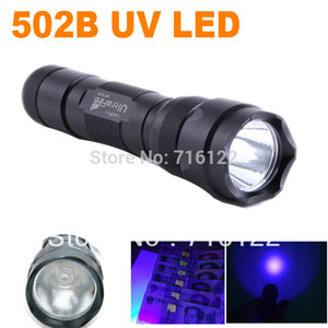 Wholesale-New UltraFire WF-502B CREE UV LED  502B Purple Light UV 395nm Ultraviolet Lamp free shipping