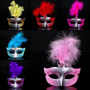 100pcs Halloween Natale Costumi donne penne colorate Maschera Maschera Masquerade Dance Party viso per le donne