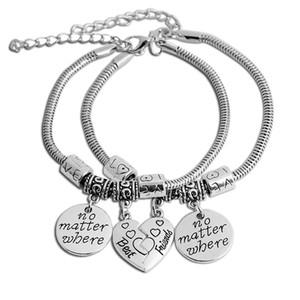 2017 New Elastic Chain Broken Heart Pendant best friends Bracelets & Bangles Jewelry Set for Women Men