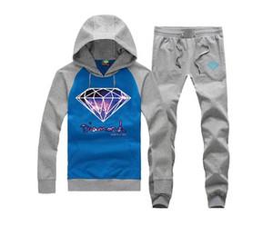 WinterAutumn Fashion Brand Männer Casual Sportswear Männlich Hoody Diamond Versorgung Sweat Anzug (S-5XL) Langarm-Sweatshirt