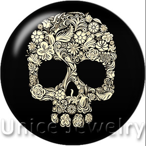 AD1301101 12,18,20mm Snap On Charms for Bracelet Necklace Hot Sale DIY Findings Glass Snap Buttons Jewelry Skull Design noosa