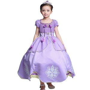 Nueva Royal Rapunzel Dress Girl's Princess Dress Up Disfraz Fancy Party Dress Niños Halloween Christams Clothing Gifts HH7-122