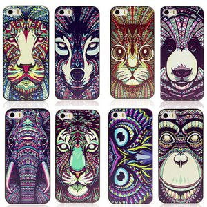 Wholesale-For  5 5G 5S Case Cover New Fashion Cute Aztec Animal Elephant Tiger Owl Orangutan Bear Kitten Wolf Painted Back Lucky