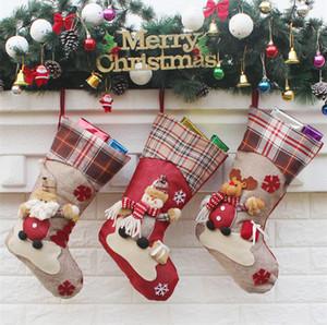 Weihnachtsschmuck Schneeflocke Hirsch Weihnachtsstrumpf Geschenktüte Süßigkeiten Apfelbeutel wickeln lange Strümpfe Socken rot festliche Party Supplies IB508