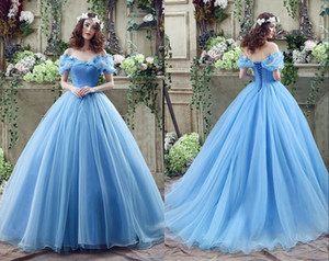 Aqua Cenicienta Quinceañera vestidos princesa vestidos de bola 2020 de la imagen verdadera Fuera del hombro con cordones de Atrás Longitud 16 niñas Prom Vestidos CPS239