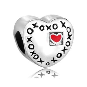 Moda kadınlar takı bilezik Sevgililer Günü XOXO hugs kisses aşk spacer boncuk boncuklu bilezikler için büyük delik charms