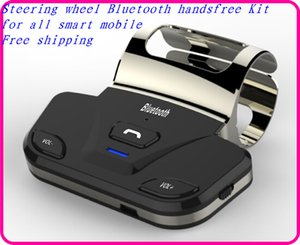 Car Steering wheel Wireless Stereo Bluetooth handsfree Kit, bluetooth Speakerphone Kit with charge portable for all smart phone