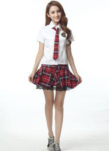 2015 3 pçs / set Sexy Britânico de mangas curtas xadrez escola stundent uniformes saias vestido minissaia mulheres traje cosplay 190020