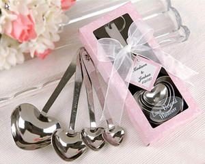 DHL 2016 free shipping Spoon favor 50sets Heart Shaped Measuring Spoons set Wedding Favors