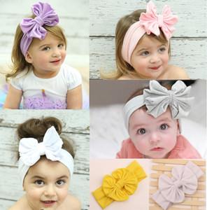Bebek kızın Headbands Büyük Yay Düz Renk ile Pamuk Saç Yay Çiçek pamuk kafa bandı