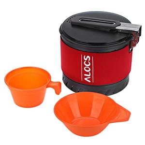ALOCS CW S10 Outdoor Tablewares 1.3L Camping Pot Avec Poignée Pliante Échange De Chaleur Nouvelle Arrivée Camping Cookware Avec Bowl Cup nouvellement B