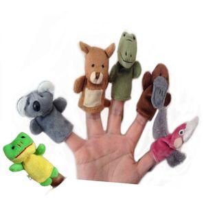 Australiano 6 Animales marionetas de dedo Suave felpa de terciopelo Animal Marionetas de mano Ropa de niños Animal Marioneta de dedo JUGUETES Preescolar Kindergarten