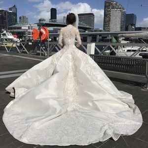 Luxo de manga comprida vestido de baile vestidos de noiva Arábia Árabe modesta frisado bordados gola alta catedral longo trem vestidos de noiva