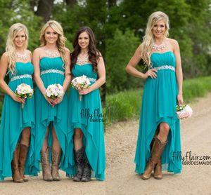 2017 turquesa alto bajo vestidos de dama de honor barato bajo 100 modestos Western Country gasa Wedding Party Guest vestidos más tamaño Boho maternidad