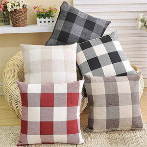 Grid Square Pillow Case Double-sided Linen Lattice Pillow Covers High-end Car Cushions Covers Sofa Pillowcase