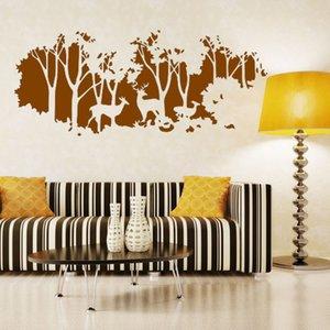 2017 новый дизайн искусство олени в лесу стикер стены деревья Home Decor творческий винил дешевые съемные наклейки на стены
