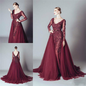 Sexy Burgundy Backless Lace Evening Dresses Removeable OverSkirt 2018 V-Neck Applique Party Prom Dresses Pageant Gown Spring Robe De Soiree