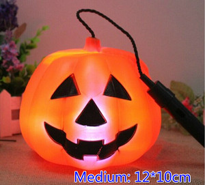 Free EMS 50pcs PVC Medium 12*10cm 3D Cartoon Holloween Pumpkin Lantern Fashion LED Flashing Glow Lantern Party Disco Wedding Gift Toy