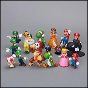Prettybaby Super Mario Bros 18 pz / lotto PVC Action Figure topper Super Mario NDS Luigi Peach yoshi figure Pt0064 #
