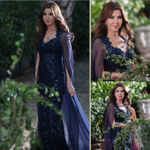 Encantador Nancy Ajram Navy Vestido de noche Vestido Watateau Tren Dispersos Vestidos de fiesta con lentejuelas con lentejuelas 2021 V Cuello abierto