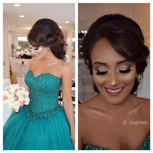 2016 Arabic Quinceanera Ball Gown Dresses Sweetheart Hunter Bling Crystal Beads Tulle Long Sweet 16 Wedding Cheap Party Prom Evening Gowns