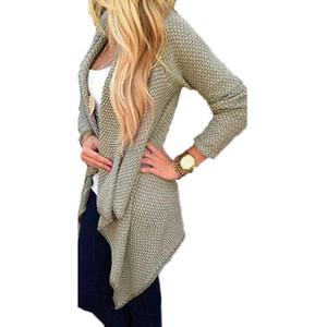 Nuovo arrivo autunno inverno donna Blusas casuali allentato giacca a maniche corte cardigan giacca a maniche lunghe cappotto maglione irregolare