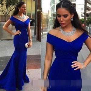 Royal Blue Off Shoulder vestidos de dama de honor largos con sirena 2019 Árabe boda formal vestidos de invitados vestido de noche barato