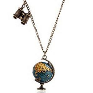 Heißer Verkauf Trendy Vintage Bronze Lange Kette Schmuck Globe Teleskop Legierung Anhänger Halskette Für Frauen Großhandel 12 Stücke
